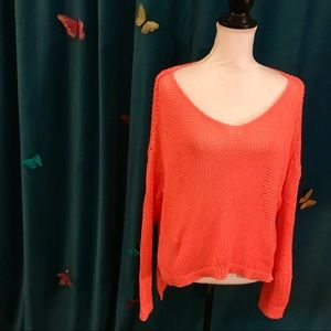GUESS Neon Coral Orange Chunky Knitted Sweater M